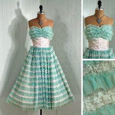 aqua vintage prom dress