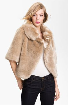 Ted Baker London Crop Faux Fur Jacket available at #Nordstrom