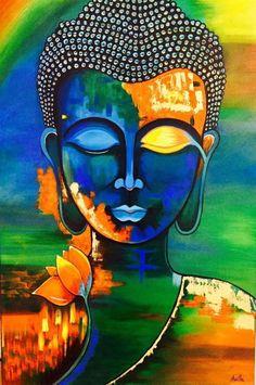 Buddha Kunst, Buddha Art, Buddha Drawing, Buddha Canvas, Mandalas Painting, Madhubani Painting, Diy Canvas Art, Acrylic Painting Canvas, Large Painting