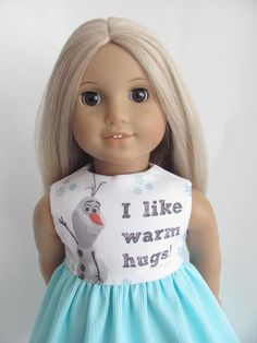 Frozen Inspired Doll Dress and Sash for the American Girl Doll featuring Olaf by TheWhimsicalDoll2