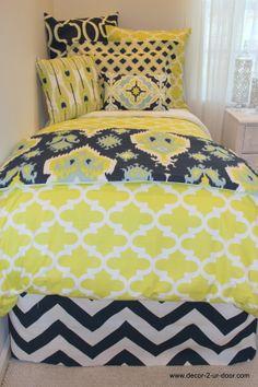 Navy and lime ikat designer dorm room bedding.