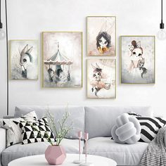 Home Decor Nordic Canvas Painting Wall Art Rabbit Girl Animal Abstract Watercolor Print Kid Bedroom Living Room Poster Picture. Subcategory: Home Decor.