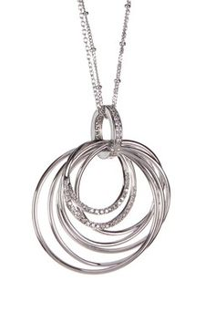 Sterling Silver CZ Bangle Pendant Necklace