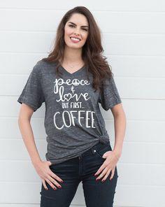 But First Coffee Shirt. Womens Graphic Tee. Cute T Shirt. (V Neck)