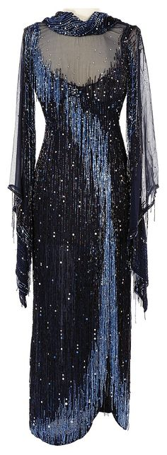 Lot 839: Debbie Reynolds navy blue beaded dress designed by Bob Mackie from her Las Vegas act. - Profiles in History | AuctionZip