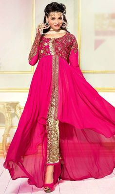 Mesmerize the world dressed up in this pink color georgette asymmetrical Anarkali suit. The ethnic lace, resham and stones work in suit adds a sign of splendor statement with a look. #gorgeousanarkalidress #fushiapinkanarkali #onlineanarkalis
