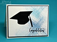 Quick, easy, and easy to mail graduation card using Stamp Simply Ribbon Store's new clear Graduation Sentiments stamp set