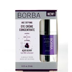 Borba Age Defying Eye Creme Concentrate 0.5 fl oz. by Borba. $14.75. BORBA's exclusive Age Defying blend (Açaí Berry, Elastin, Flaxseed, Argan Oil) delivers a surge of antioxidant moisture to the eye area, quenching signs of premature aging caused by free radicals. BORBA's inside-out nutrient cocktail (Vitamins A, C, E, B6, B12, Niacinamide, Pantothenic Acid, Magnesium, Zinc) boosts skin's healthful appearance of vitality.. Concentrated nutrients from Shea, Argan ...