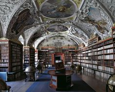 The stunning library from Kresmunster Abbey in Austria was built in the late 1600s, though the abbey's history predates the 9th century