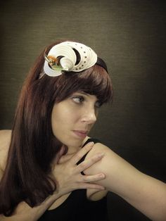Cream Felt Loop Headband with studs stitching and by pookaqueen, $62.00
