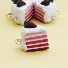 Polymer Clay Strawberry Layer Cake Necklace