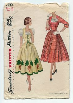 50s Vintage Sewing Pattern Simplicity 3485 Misses Dirndl Lace Up Milkmaid Dress | eBay