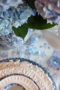 BLUE HYDRANGEA AND WHITE DELIGHTS
