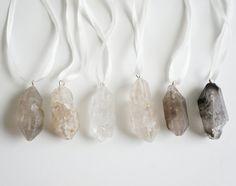 Crystal Quartz Ornaments Smokey Set of 6 Free by sesameandsparrow