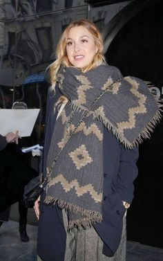 Our Wilfred tribal diamond wool scarf worn by Whitney Port.
