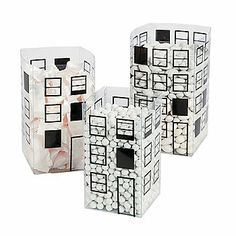 """Cityscape candy """"buckets"""" set of 6. $12. 2 each of small, medium and large. Fill with red, blue or yellow candies for center pieces."""