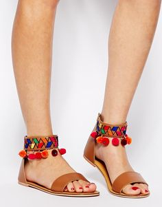 Image 4 of ASOS FOLK TOWN Leather Flat Sandals