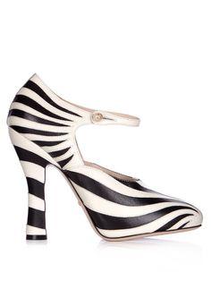 Gucci Lesley zebra-appliqué leather pumps