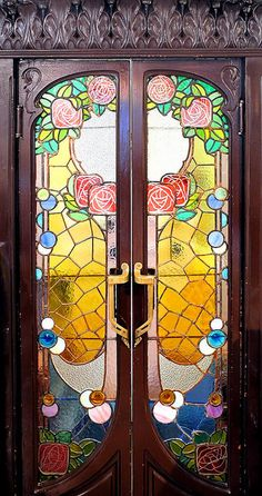 Catalonian Modernisme, stained Glass doors, Barcelona