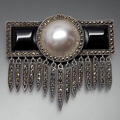 VINTAGE JUDITH JACK BLACK ONYX FAUX PEARL & MARCASITE ACCENTS STERLING SILVER ART DECO DANGLE BROOCH PIN
