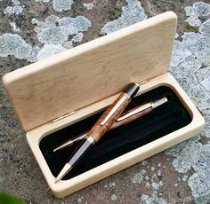 Special commission for customer.  Gunmetal and Gold matching pen and pencil set with birdseye maple woodwork in a twin section maple presentation box. www.pomd.co.uk