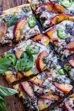 Toasted Walnut Pesto and Caramelized Nectarine and Gorgonzola Pizza with Spicy Balsamic Drizzle #pizza #easy #dinner