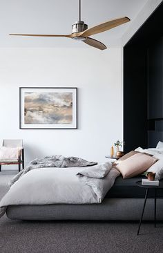 Black and white bedroom with a super cool ceiling fan! ...I just got a super cool fan, but I like that one too!