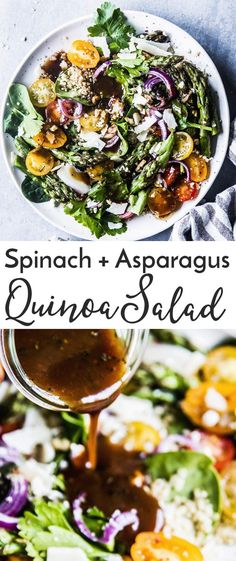 Quinoa Spinach Salad with Asparagus is a delicious and healthy salad that's perfect for an easy vegetarian lunch! Add it to your meal prep list next week - you'll love this one! Asparagus Salad, Spinach Salad, Easy Vegetarian Lunch, Vegetarian Recipes, Healthy Salad Recipes, Real Food Recipes, Clean Eating Recipes, Healthy Eating, Unprocessed Recipes
