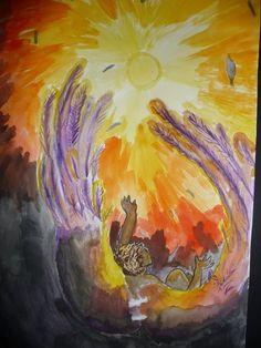 De val van Icarus 2KB  aquarel
