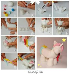 Unicorn tutorial from gum paste Cake Topper Tutorial, Fondant Tutorial, Fondant Animals, Clay Animals, Fondant Figures, Buffet Party, Cupcakes Decorados, Unicorn Cake Topper, Unicorn Cakes