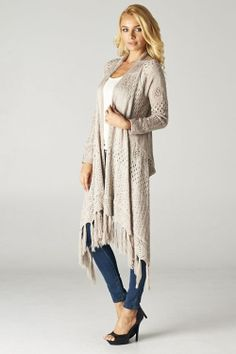 Open Knit Andrea Cardigan ♡ Stunning Relaxed Open Knit Cardigan with light, A-Line, Flowing Cut and Fringe Accents...