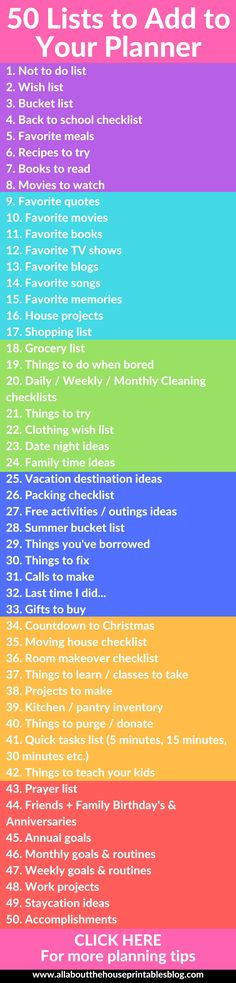 50 lists to add to your planner organization ideas setting up a new planner free printable checklist to do list cleaning insert