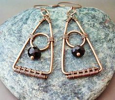 Wire Wrapped Triangle Earrings Copper and Black от GearsFactory