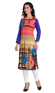 Shop this exclsuive casual wear MultiColor Digital Print Faux Georgette Kurti…