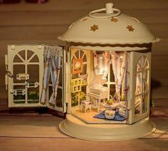 Hoomeda DIY Wood With Piano Room LED+Furniture+Cover Dollhouse Sound Control Sale - Banggood Mobile Miniature Rooms, Miniature Crafts, Miniature Houses, Miniature Fairy Gardens, Wooden Dollhouse, Diy Dollhouse, Dollhouse Furniture, Dollhouse Miniatures, Doll House Crafts
