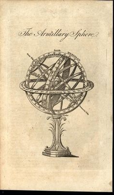 Armillary Sphere Antarctic Pole Zenith Meridian 1805 antique engraved print