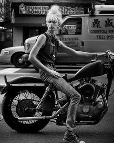 Celebrity Photography by Marc Hom — Photography Office Photography Office, Celebrity Photography, White Photography, Lady Biker, Biker Girl, Bobber, Style Cafe Racer, Jean Bart, Chicks On Bikes