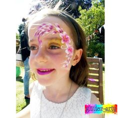 Pretty Floral Eye design by by Glitter-Arty Face Painting, Bedford, Bedfordshire. Professional face painter entertainment for parties & events Girl Face Painting, Glitter Face, Henna Artist, Face Art, Girly, Parties, Entertainment, Events, Eye