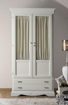 Armarios clásicos de 2 puertas con puertas de cristal o puertas de madera, muebles de estilo antiguo online, mas en: http://rusticocolonial.es/