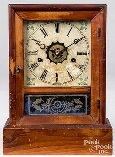 Pine cottage shelf clock, 19th c. Business Checks, Old Stone, 4 H, Decorative Accessories, Clocks, Art Decor, Pine, Sculptures, Shelf