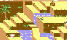 Scene from Congo Bongo, Commodore 64, 1983. A fine Sega game. I loved its isometric graphics. U.S. Gold made its own licensed C64 conversion in 1985.