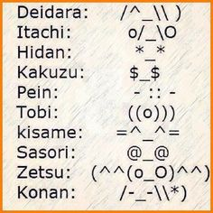 /^-\\\  o/_\o  *-*  $-$  *::*  ((o)))  =^-^= @_@ (^^(o_o)^^)  /*-*\\*)  cool Naruto Akatsuki faces
