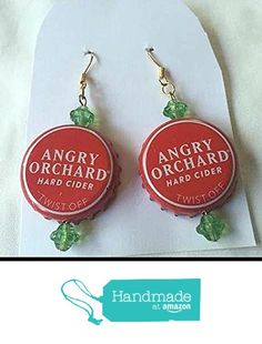 Angry Orchard Red White and Light Green Gold Saucer Bead Upcycled Bottlecap Earrings from Southern Women Crafts https://www.amazon.com/dp/B01GW599QC/ref=hnd_sw_r_pi_dp_fs6IxbBM43ZFF #handmadeatamazon