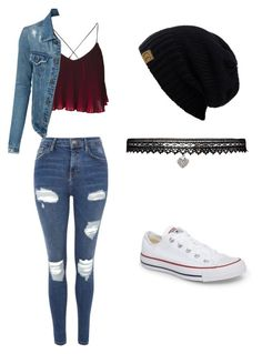 """Casual Outfit"" by that-vintage-nerd on Polyvore featuring Topshop, LE3NO, Converse and Betsey Johnson"