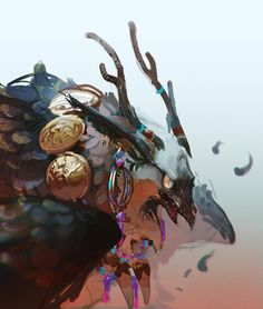 カラス好き Mythological Creatures, Fantasy Creatures, Mythical Creatures, Art And Illustration, Character Illustration, Creature Concept Art, Creature Design, Fantasy Kunst, Fantasy Art