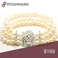Genuine FW Pearl Bracelet New 9mm Freshwater Pearls & .50ctw Cubic Zurconia 3 Row Bracelet Jewelry Bracelets