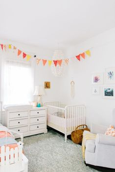 Project Nursery - A Toddler and Baby girl shared bedroom! pink yellow and blue mermaid nursery bedroom