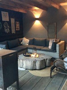 A look inside Nathalie - De Wemelaer - Tree trunk lounge set canopy - Outdoor Kitchen Patio, Outdoor Living, Outdoor Spaces, Outdoor Decor, Outdoor Patios, Outdoor Kitchens, European House Plans, European Home Decor, Coastal Living Rooms