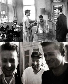 "CINEMA DREAM ™ on Instagram: ""Brad Pitt, Edward Norton and David Fincher behind the scenes of Fight Club (1999). Happy birthday to the great David Fincher! 🎉"""