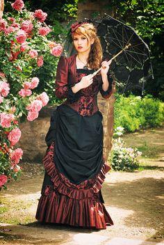 Springtime promenade - victorian bustle gown by Stahlrose.deviantart.com on @deviantART